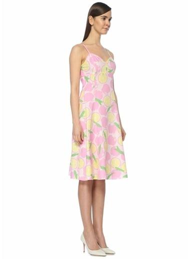 Boutique Moschino Askılı Desenli Midi Elbise Pembe